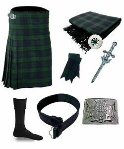 SL Scottish Black Watch 5 Yard Highland Tartan Kilt 8 Pcs Set With Accessories