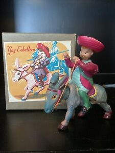 Vintage Rare ALPS Gay Caballero Nodder Wind Up Toy Donkey In Box