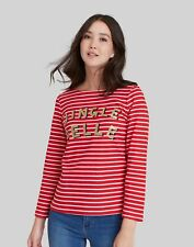 Joules Womens Harbour Printed Jersey Top - Red Jingle Belle