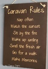 BK Caravan Rules Sign - RV Rustic Camping Camper 4WD Wooden BBQ Country Sign