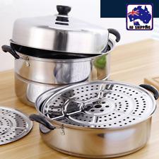 3 Tier Stainless Steel Steamer 26cm Steam Pot Saucepan Cookware HKBA97555
