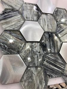 HEX Glass & Aluminium Mosaic tiles | 1 sheet 300 x 300 x 8 mm | 11 sheets 1sqm