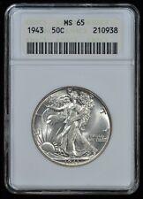 1943 Walking Liberty Half Dollar MS-65 ANACS # 210938 Vintage Gen iV Holder