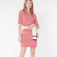 Veronica Beard Foley Lace Up Ruched Striped Red Dress Size L Shoelace Shoulders