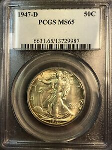 1947 D PCGS MS65 Walking Liberty Silver Half Dollar, NIce Luster