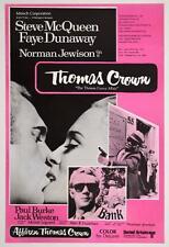 THOMAS CROWN AFFAIR Finnish movie poster STEVE McQUEEN FAYE DUNAWAY 68 LINEN NM
