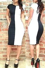 Women Sexy Short Sleeve Patchwork Stretch Bodycon Bandage Black/White 4-6 Fitted