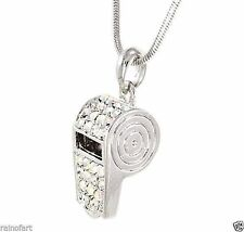 WHISTLE MADE WITH SWAROVSKI CRYSTAL TRAINER REFEREE AB PENDANT NECKLACE JEWELRY