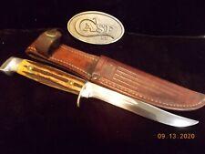 1940,s CASE 516-5 Hunting Skinning Knarly Stag Knife w/Sheath Razor Sharp