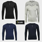 Mens Long Sleeve Grandad V Neck T-Shirt Jules S M L XL Black Grey Blue Navy