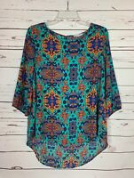 Boutique Peach Love Women's M Medium Turquoise Boho Cute Spring Top Blouse Shirt