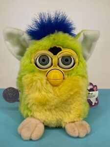 Vintage Tiger Electronics - 1999 - Furby - Green, Yellow & Blue - Working & Tags
