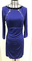 Stunning KAREN MILLEN Purple Ruched Zip Bodycon 3/4 Sleeves Dress UK 10