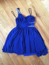City Studio 5 homecoming royal blue cocktail dress one shoulder jewels silver