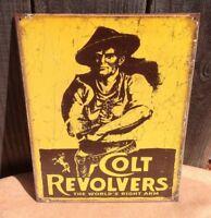 Colt Revolvers Worlds Right Arm Metal Tin Sign Guns Classic 2nd Amendment Cowboy