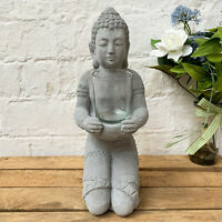 Vintage Grey Cement Sitting Buddha Home Tea Light Votive Candle Holder Ornament
