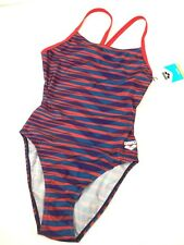 ARENA Womens One-Piece Training Swimsuit Size 32 Red Blue Bathing Suit