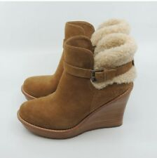 New UGG Anais Womens Wedge Bootie Sz 8 Brown Suede Buckle Shearling Trim Ugg's