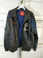 Rare Vintage Miami Dolphins black Leather jacket NFL, Randy Name Embroirered