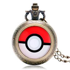 Retro Pokemon Go Ball Cosplay Mens Women Pocket Watch Anime Necklace Chain Gift
