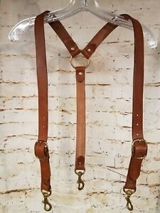 CUSTOM LEATHER SUSPENDERS: MADE TO ORDER: HEAVY DUTY: WIDER VERSION: MADE USA
