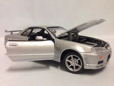 """2002 NISSAN SKYLINE GT-R COLLECTIBLES, 7.5"""" DIECAST 1:24 , MOTORMAX TOYS, SILVER"""