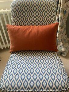 Oka Burnt Orange Velvet Cushion Cover And Down Pad Rectangular 60 X 35