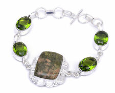 "Spiritual Jewelry Natural Unakite With Peridot Handmade Bracelet 7"" To 9"" bO738"
