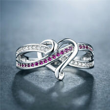 Romantic Heart Rings for Women 925 Silver Jewelry Round Cut Ruby Ring Size 8