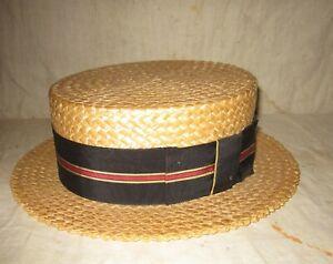 VINTAGE STRAW BOATER/SKIMMER HAT