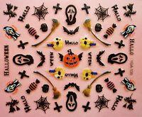 Halloween Nail Art Stickers Decals Black Spiders Webs Spider Web Pumpkin (135)