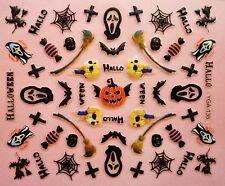 Halloween Nail Art Pegatinas Calcomanías Negro Blanco Arañas webs Telaraña Encaje (74)