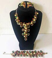 Vintage Estate JULIANA D&E Rhinestone & Crystal Necklace, Bracelet & Earring SET