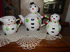 Vintage 1979 Enesco Japan Snowman Holiday Winter Teapot Creamer Sugar Tea Set