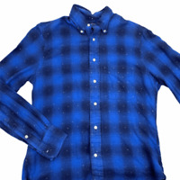 Gitman Vintage Mens Blue Black Plaid Long Sleeve Button Down Shirt Flannel S