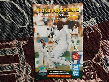 1998 WEST INDIES v ENGLAND CRICKET PROGRAMME SCORECARD KENSINGTON OVAL BARBADOS