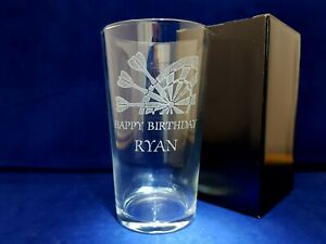 PERSONALISED DARTS PINT GLASS ANY NAME MESSAGE GIFT BOXED DARTS TROPHY AWARD