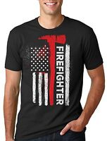 American Firefighter T-shirt USA Flag Firefighter Gift for Dad Father's Day Tee