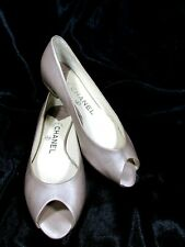 Chanel, Silver,Pep Toe Flats,Size:US 5.5 EUR: 36