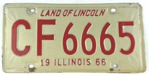 Illinois 1966 Vintage License Plate 666 Classic Car Tag Muscle Year Man Cave