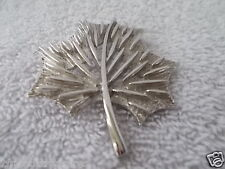 Vintage Leaf Brooch Pin Silver Plate 2 1/2 Inches