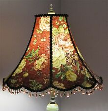 Victorian Floor Lamp Shade with Roses and beads.. Classic Victorian!
