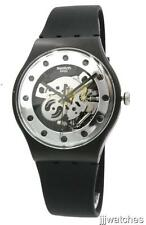 New Swatch Silver Glam Silver Dial Black Silicone Band Watch 42mm  SUOZ147 $85