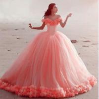 Off the Shoulder Princess 3D flower Ball Gown Quinceanera Dress Wedding dresses