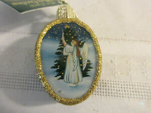 "OLD WORLD CHRISTMAS ORNAMENT - INSIDE ART ORNAMENT - ANGEL W/ TREE - 2"" LONG"