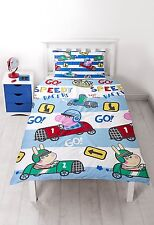 SINGLE BED GEORGE SPEED DUVET COVER SET RACE CARS GO STRIPE PEPPA PIG BLUE WHITE