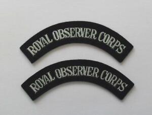 ROYAL AIR FORCE. ROYAL OBSERVER CORPS SHOULDER TITLES ( PAIR ).