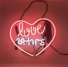 "11""x9"" Love 24 Hrs Pink Heart Handcrafted Poster Beer Bar Wall Neon Light Sign"