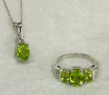 Genuine Chinese Peridot White Topaz Diamond Accent Trilogy Ring & Pendant 925