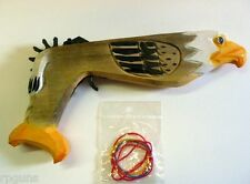 Multi Shot Rubber Band Gun.  Hand Carved Wood. Eagle. 10 inches